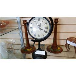 DECORATIVE CLOCK AND HAND PAINTED WOOD CANDLESTICKS