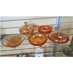 5 CARNIVAL GLASS DISHES
