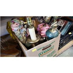 BOX OF VINTAGE LAMPS