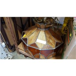 VINTAGE LEADED GLASS LAMP WITH PLUG
