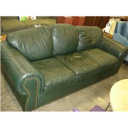 GREEN LEATHER SOFA AND ARMCHAIR