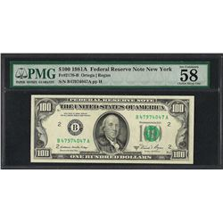 1981A $100 Federal Reserve Note New York Fr.2170-B PMG Choice About Uncirculated