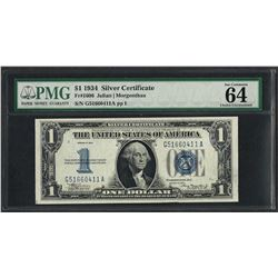 1934 $1 Funnyback Silver Certificate Note Fr.1606 PMG Choice Uncirculated 64