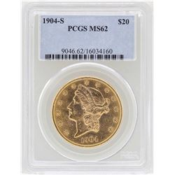 1904-S $20 Liberty Head Double Eagle Gold Coin PCGS MS62