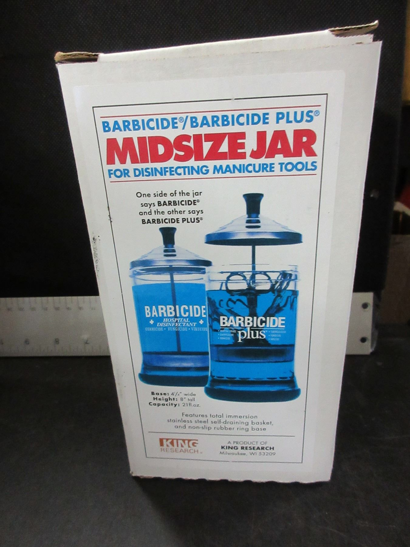 New Barbicide plus Midsize Jar for disinfecting manicure tools