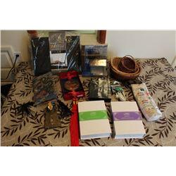 Lot of Misc Household (Decor, Baskets, Laptop Mat, Manicure Sets)