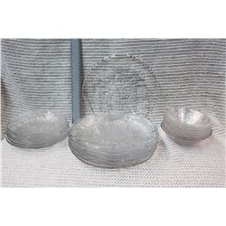 Set of Decorative Glass Plates and Bowls