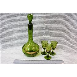 Glass Decanter and (3) Matching Glasses