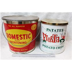 (2) Vintage Tins (Domestic Brand Shortening, Patates Potato Chips)