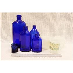 Set of Vintage Blue Bottles and (3) Mugs (1 Fire King)