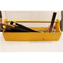 Large Wooden Toolbox w/Contents (Saws, Hammers, Etc)