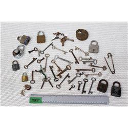 Box of Vintage Keys and Locks