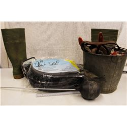 Lot of Misc (Boots, Sump Pump Drainage Kit, Bucket of Rope)