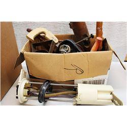 Box of Vintage Misc (Bike Seat, Handheld Tools)