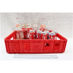 Coca Cola Crate w/Cans and Glass Bottles