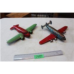 2 Vintage Tin Toy Planes