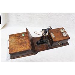 2 Box Oak Long Box Wall Phone