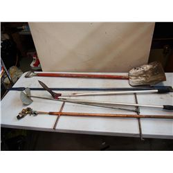 Lot Of Hand Tools, Shovel, Ice Chipper, Auger Etc