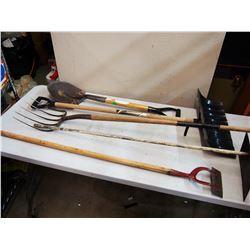 Lot Of Hand Tools, Snow Shovel, Shovel, Pitchfork, Etc