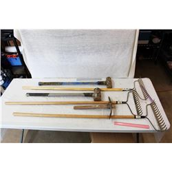 Lot of Hand Tools (Sledge Hammers, Rakes and Pickaxe)