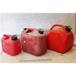 Lot Of Red Plastic Jerry Cans (3)