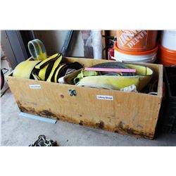 Wood Crate Full of Lifting Slings (Approx 10)