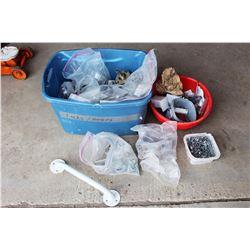 Tub Full of Building Materials (Door Knobs, Hinges, Screws, etc)