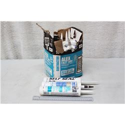 Box of Misc Caulking (Alex Fast Dry, Sillicone, Self Seal)