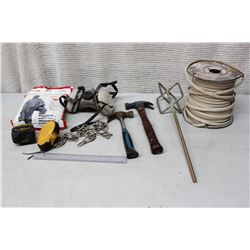 Box of Misc Tools, Safety Equipment and Spool of Electrical Wiring w/Ground