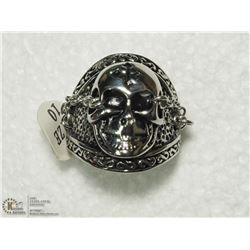 17) STAINLESS STEEL SKULL & CHAIN MENS RING