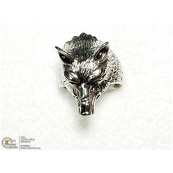 27) STAINLESS STEEL WOLF DESIGN MENS RING