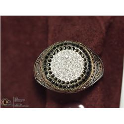 41) SILVER CUBIC ZIRCONIA MENS RING