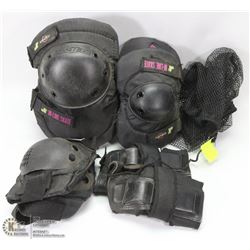 TWO SETS OF ELBOW PADS SOLD WITH KNEE PADS AND