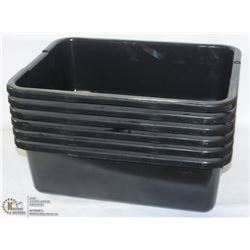 BLACK  TOTE BOXES -  LOT OF 6 - NEW