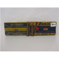 303 SAVAGE AMMO 33 ROUNDS AND 7 BRASS CASINGS
