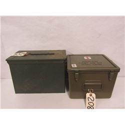 ONE AMMO CAN AND ONE FIRST AID CAN (NO CONTENTS)