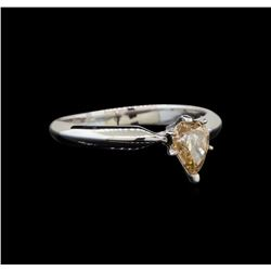 14KT White Gold 0.76 ctw Pear Cut Fancy Brown Diamond Solitaire Ring