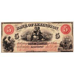 1860 $5 Bank of Lexington, NC Obsolete Bank Note