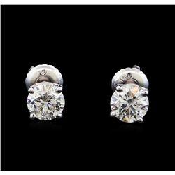 1.47 ctw Diamond Stud Earrings - 14KT White Gold