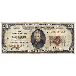 1929 $20 San Francisco CA Federal Reserve Bank Note
