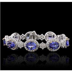14KT Two-Tone Gold 18.81 ctw Tanzanite and Diamond Bracelet