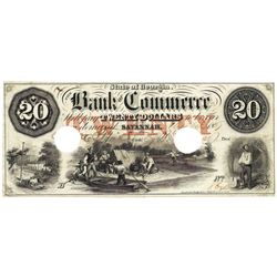 1857 $20 Bank of Commerce, Savannah, GA Obsolete Bank Note