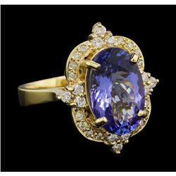 5.92 ctw Tanzanite and Diamond Ring - 14KT Yellow Gold