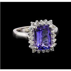 3.25 ctw Tanzanite and Diamond Ring - 14KT White Gold