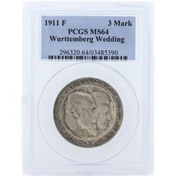 1911F Germany 3 Marks Wurttemberg Wedding Coin PCGS MS64