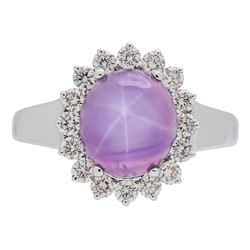 4.71 ctw Star Ruby and Diamond Ring - 18KT White Gold