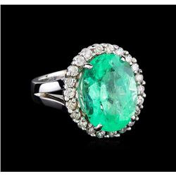 9.20 ctw Emerald and Diamond Ring - 14KT White Gold