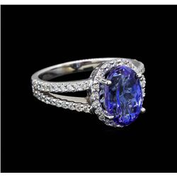 4.31 ctw Tanzanite and Diamond Ring - 14KT White Gold