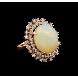 9.26 ctw Opal and Diamond Ring - 14KT Rose Gold