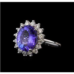 5.27 ctw Tanzanite and Diamond Ring - 14KT White Gold